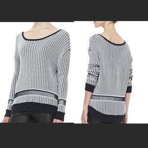 Alice & Olivia navy white knit oversized sweater S